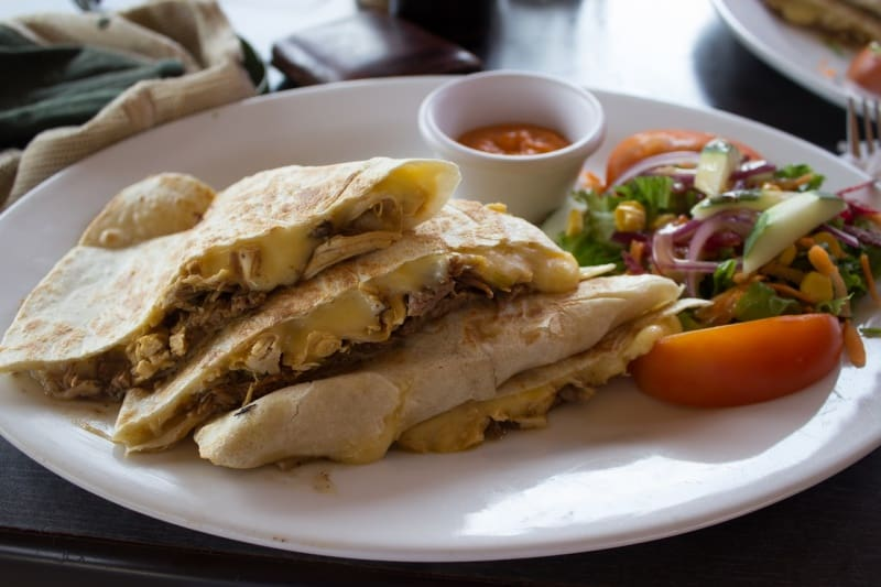 Lunch to work idea: Chicken and cheese quesadilla