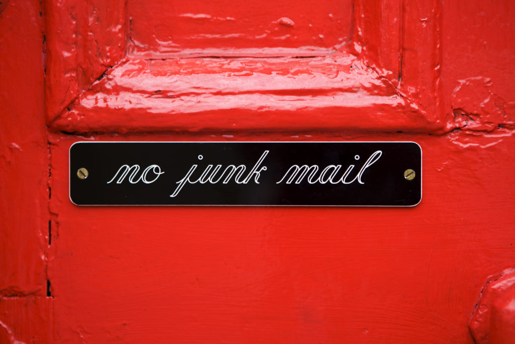 Cut down on paper use: no junk mail